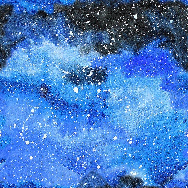 Ilustração da galáxia da aquarela Teste padrão sem emenda ilustração royalty free