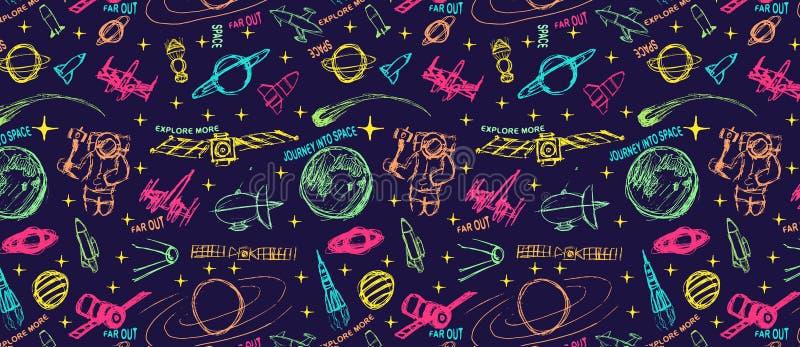 Ilustração da garatuja do espaço Ilustração do vetor teste padrão com espaço dos desenhos animados ilustração royalty free