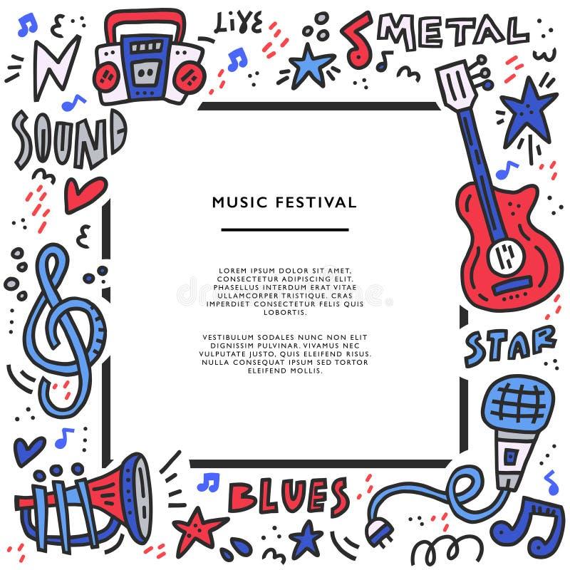 Ilustração da garatuja da música ilustração royalty free