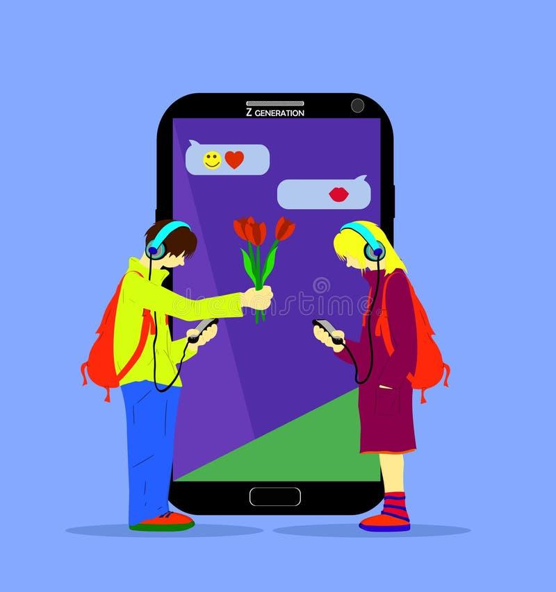 Ilustração da geração de Z Adolescente dá a uma menina flores e comunica-se através do telefone, diz-lhe, também, pelo telefone ilustração royalty free