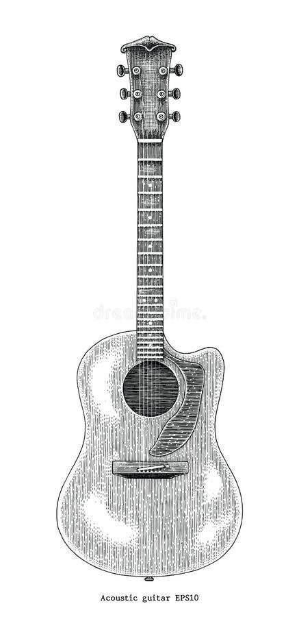 Ilustração da gravura do vintage do desenho da mão da guitarra acústica ilustração do vetor