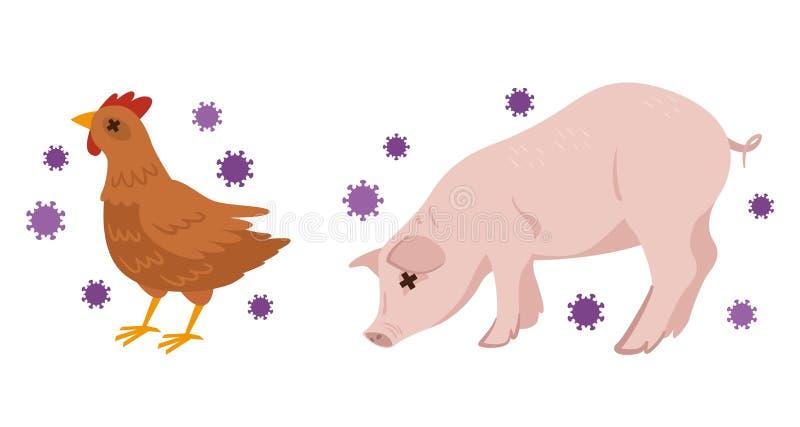 Ilustração da gripe das aves e da gripe de suínos ilustração stock