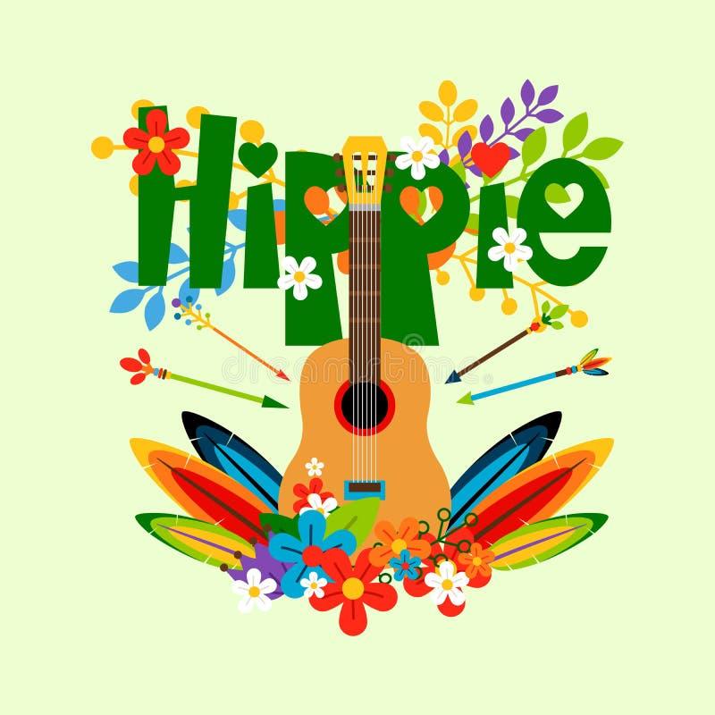 Ilustração da hippie com guitarra e flores ilustração royalty free