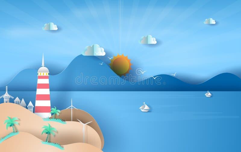 Ilustração da ilha com o farol no céu azul da luz solar da opinião do mar, conceito da estação das horas de verão, barco que flut ilustração stock