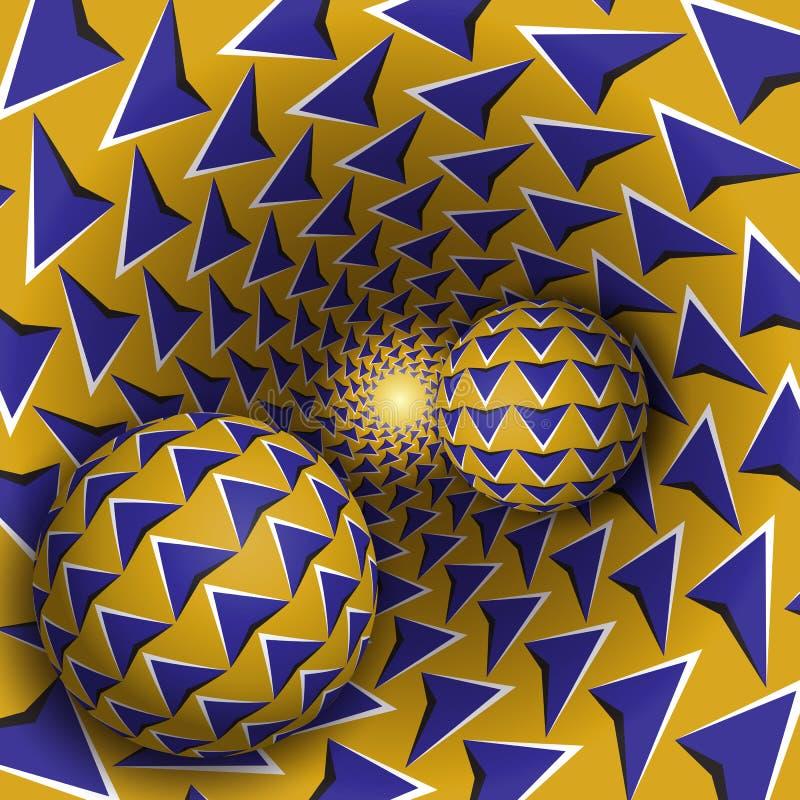 Ilustração da ilusão ótica Duas bolas com teste padrão das setas estão movendo o funil amarelo sobre de giro das setas azuis ilustração royalty free