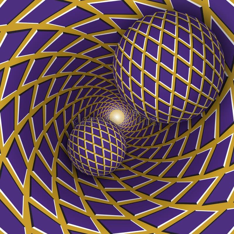 Ilustração da ilusão ótica Duas bolas estão movendo o fundo dourado sobre de giro com rombos roxos ilustração stock