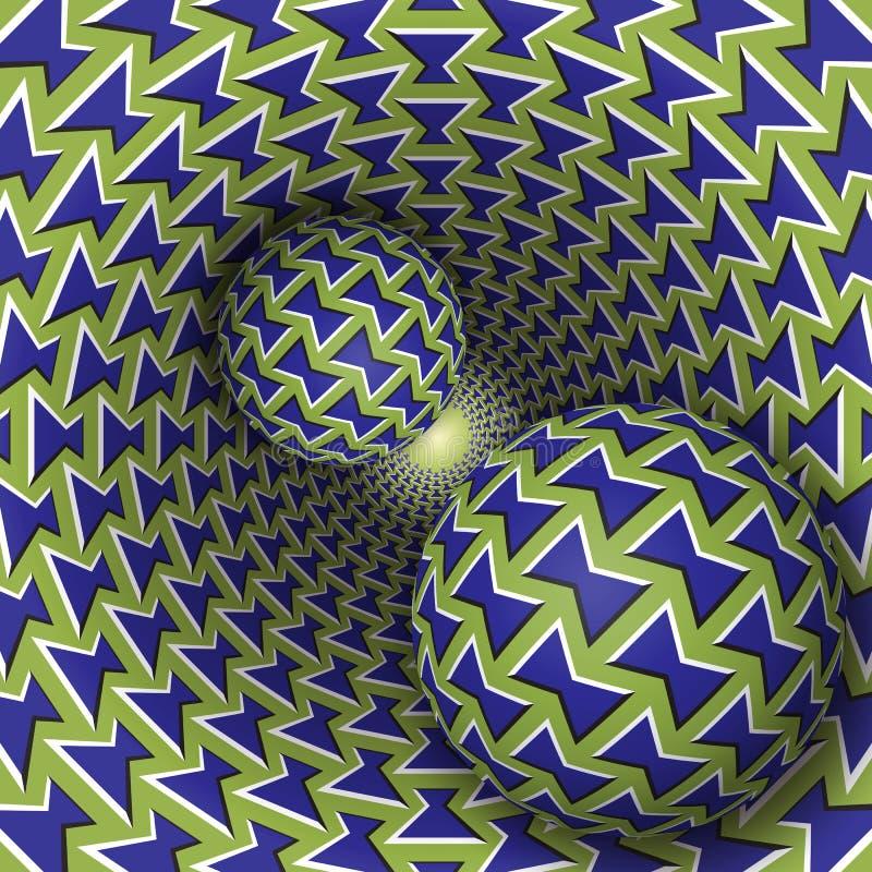 Ilustração da ilusão ótica Duas bolas estão movendo o funil sobre de giro ilustração stock