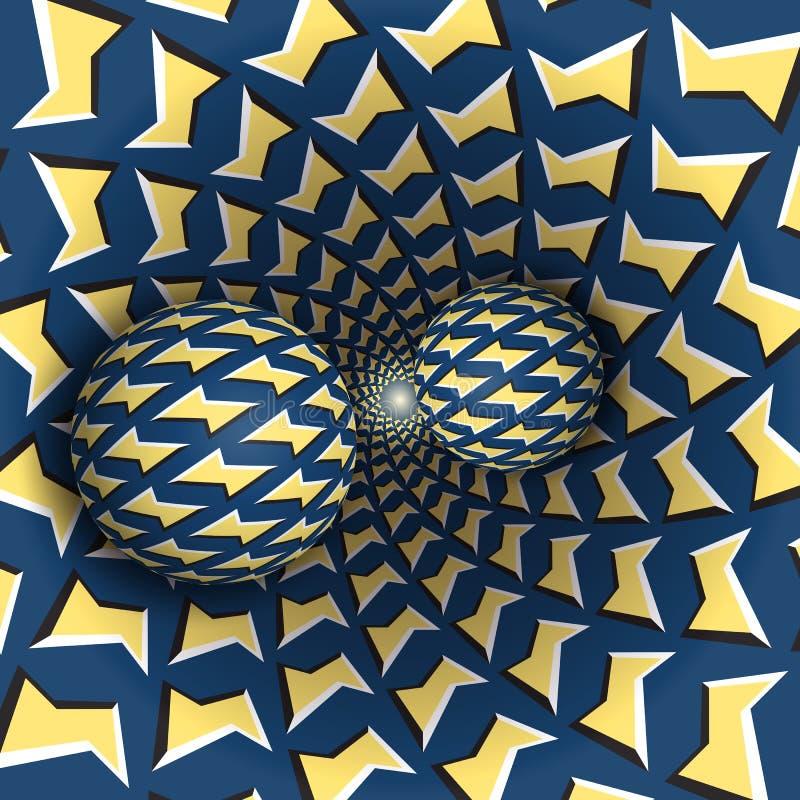 Ilustração da ilusão ótica Duas bolas estão movendo o funil sobre de giro Objetos azuis amarelos do teste padrão dos relâmpagos ilustração stock