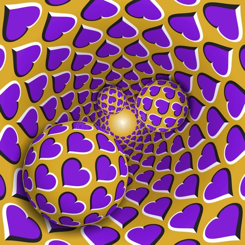Ilustração da ilusão ótica Três bolas com um teste padrão dos corações estão movendo o funil dourado sobre de giro dos corações r ilustração royalty free