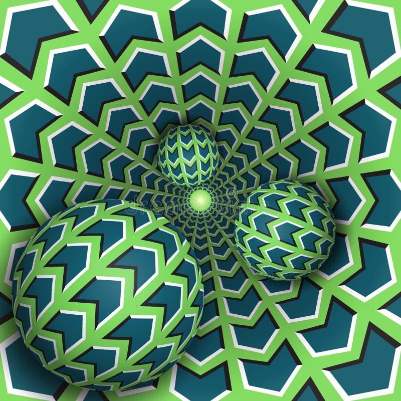 Ilustração da ilusão ótica Três bolas estão movendo-se no furo de giro ilustração stock