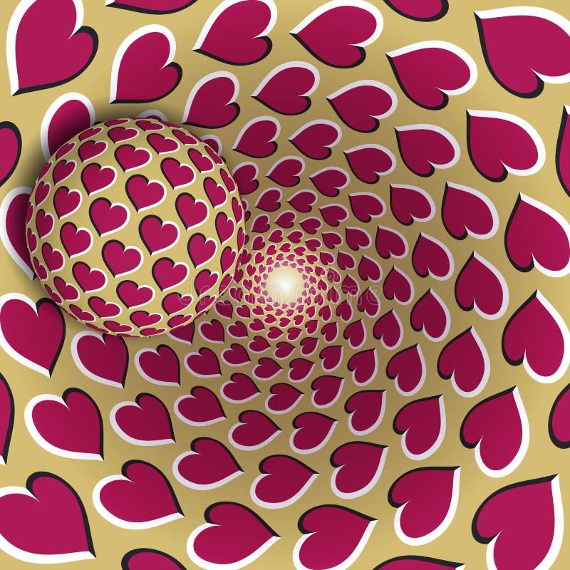 Ilustração da ilusão ótica Uma bola com um teste padrão dos corações está movendo o funil dourado sobre de giro dos corações cor- ilustração stock