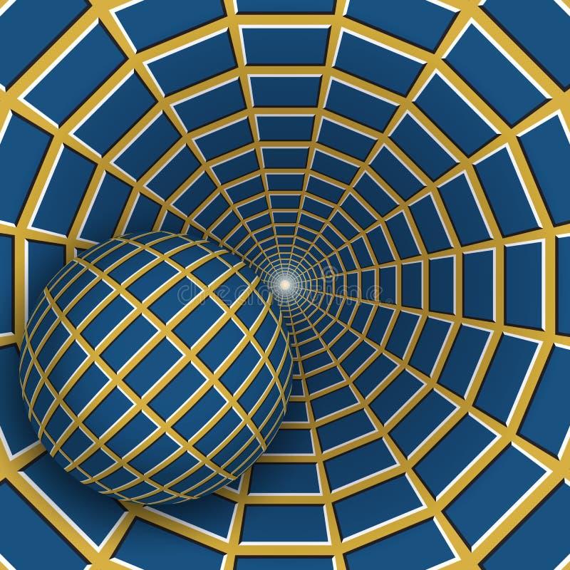 Ilustração da ilusão ótica Uma bola está movendo o funil amarelo sobre de giro com quadrilátero azuis ilustração do vetor