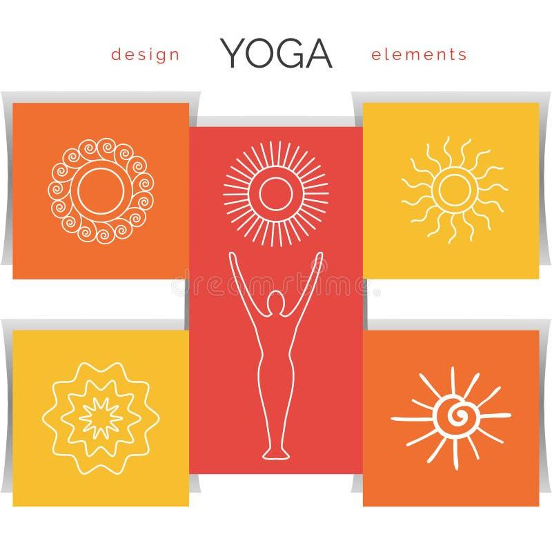Ilustração da ioga do vetor Grupo dos ícones lineares da ioga, logotipos da ioga no estilo do esboço ilustração royalty free