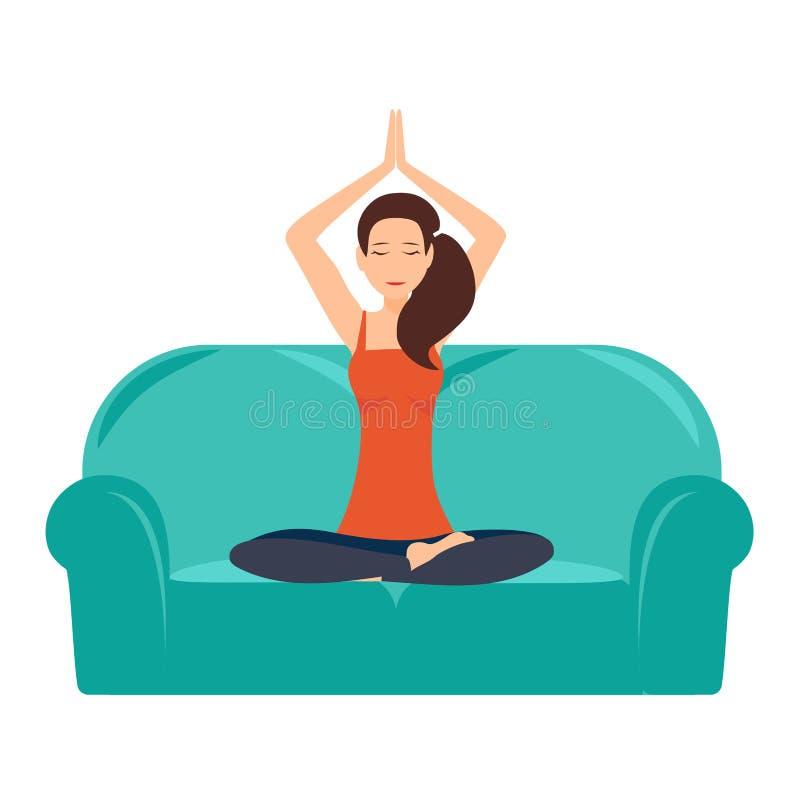 Ilustração da ioga em casa com a moça bonita que senta-se em lotos de uma pose no sofá e no interior moderno Vetor ilustração royalty free