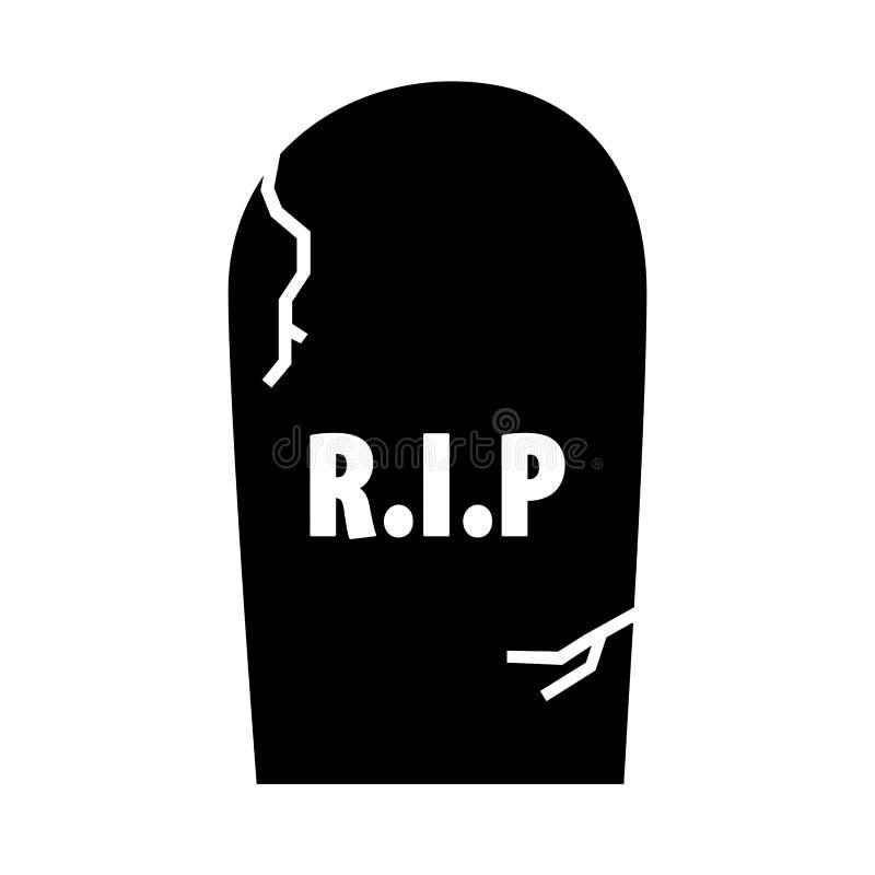 Ilustração da lápide assustador do cemitério com RASGO ilustração stock