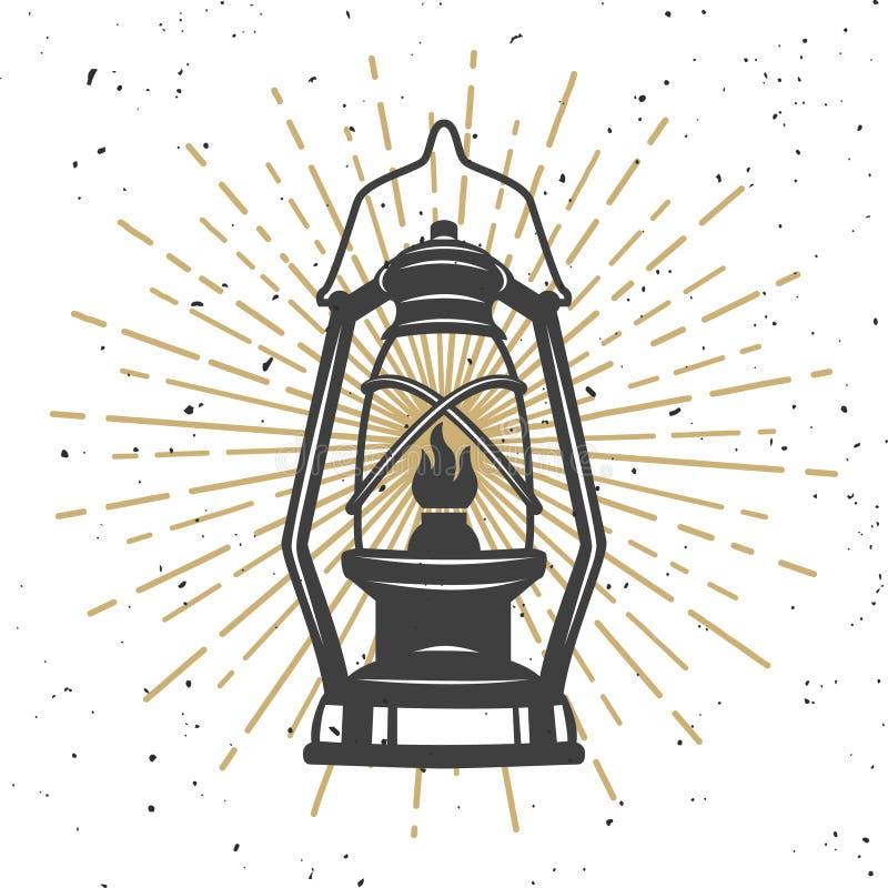 Ilustração da lâmpada de querosene do vintage Projeto ilustração royalty free