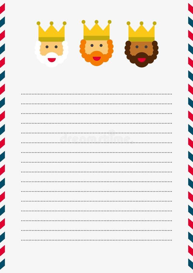 Ilustração da letra do Natal dos três Reis Magos ilustração royalty free