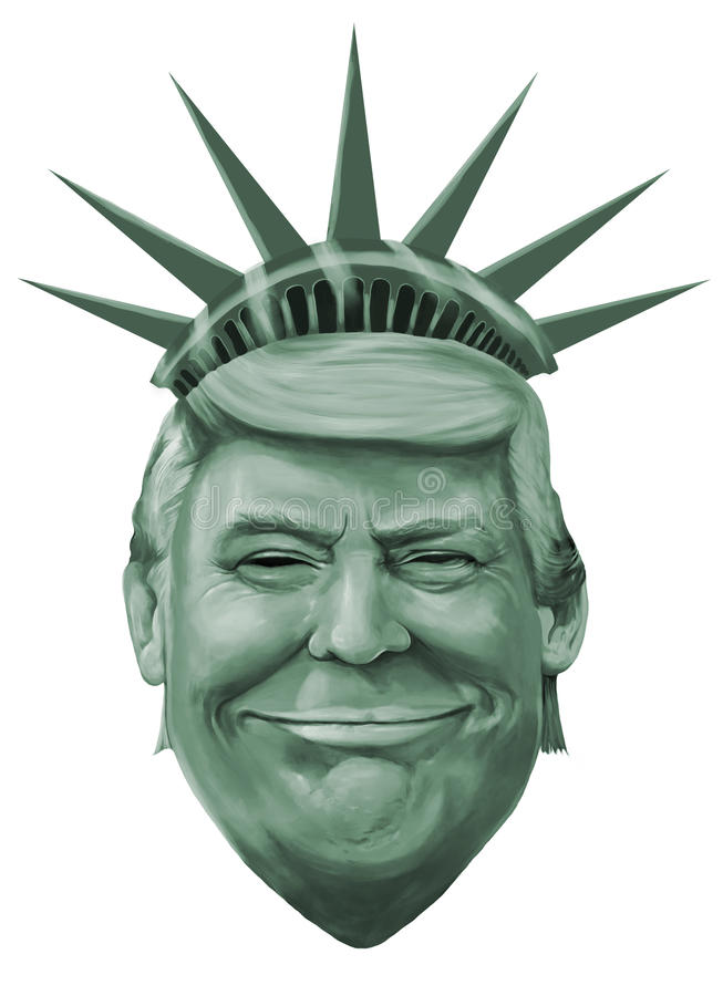Ilustração da liberdade e do Donald Trump ilustração stock