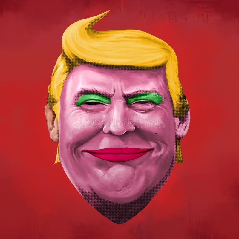 Ilustração da liberdade e do Donald Trump ilustração royalty free