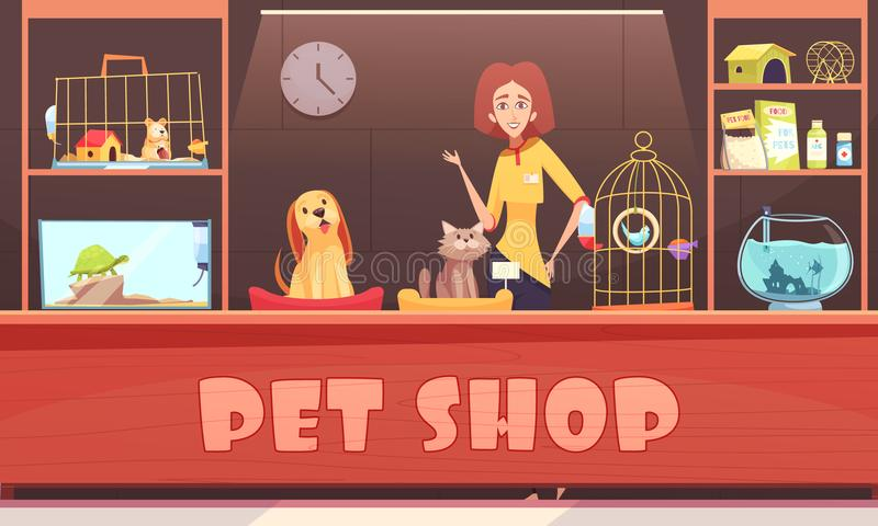 Ilustração da loja de animais de estimação ilustração do vetor
