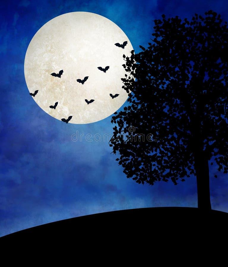 Ilustração da lua de Dia das Bruxas sobre a paisagem desolada com uma árvore só e os bastões que voam no céu ilustração royalty free