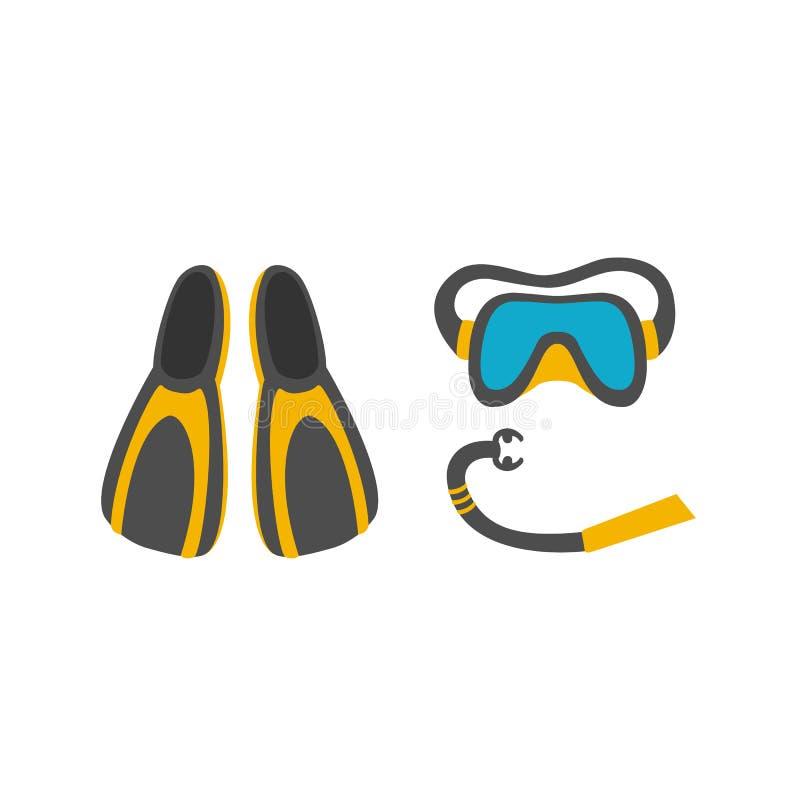 Ilustração da máscara do mergulho, tubo de respiração, aletas ilustração do vetor