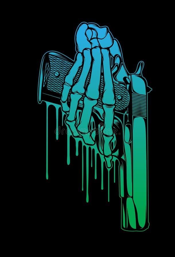 Ilustração da mão do revólver e do esqueleto ilustração royalty free