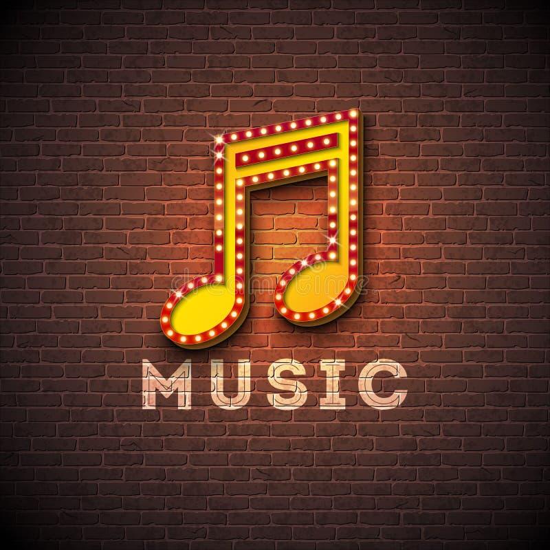 Ilustração da música com o quadro indicador da iluminação da nota musical no fundo da parede de tijolo Projeto do vetor para a ba ilustração royalty free