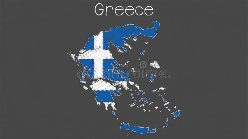 Ilustração da mapa-bandeira de Grécia ilustração stock