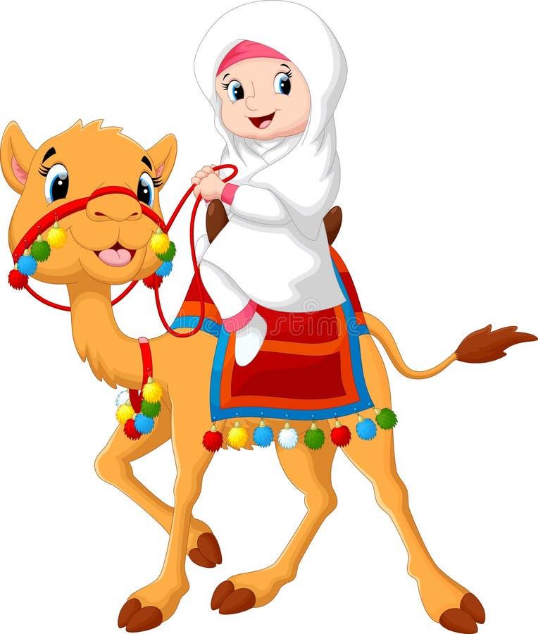Ilustração da menina árabe que monta um camelo ilustração do vetor