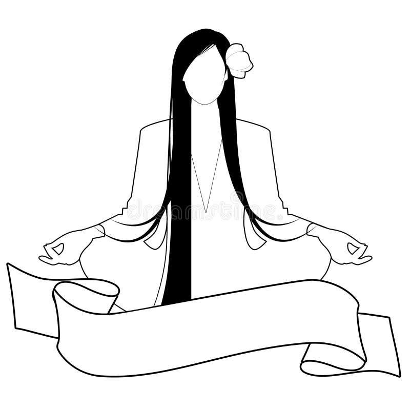 Ilustração da menina com cabelo e a flor longos em seu cabelo, fazendo a ioga na bandeira da posição e do texto de lótus, isolada ilustração royalty free
