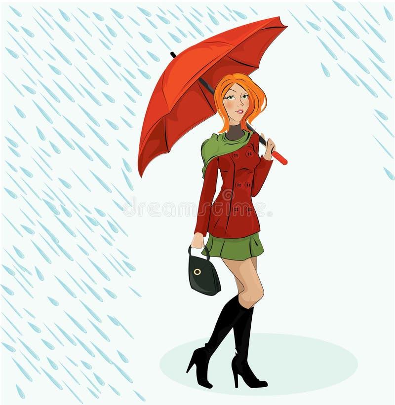 Ilustração da menina com guarda-chuva ilustração do vetor