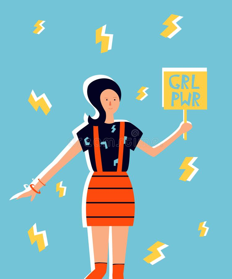 Ilustração da menina na roupa brilhante Poder da menina ilustração royalty free