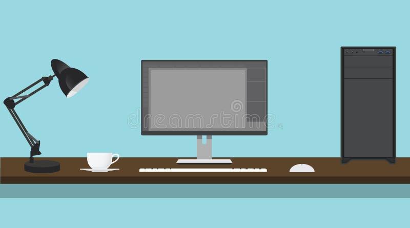 Ilustração da mesa do trabalho do computador do PC ilustração do vetor