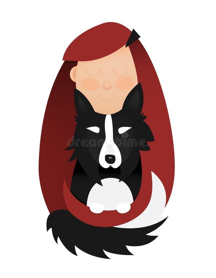 Ilustração da moça que abraça o cão Menina Redheaded com border collie preto e branco ilustração royalty free