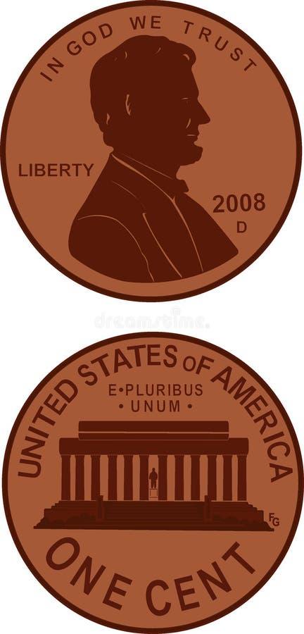 Ilustração da moeda de um centavo ilustração do vetor