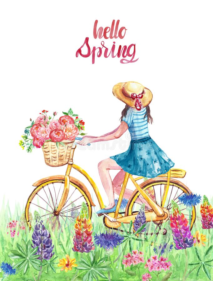 Ilustração da mola da aquarela olá! com a menina que monta na bicicleta no prado com grama e wildflowers ilustração do vetor