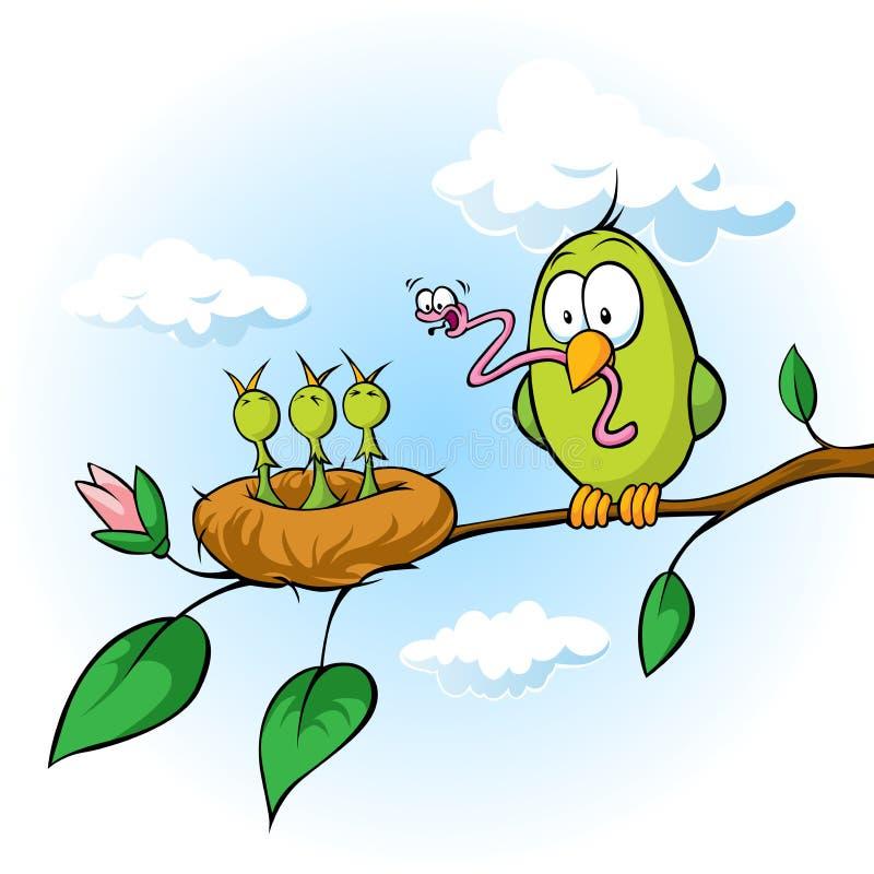 Ilustração da mola do pássaro que alimenta pintainhos com fome ilustração stock