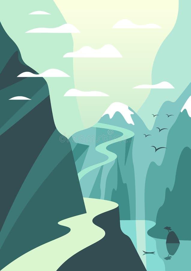 Ilustração da montanha e da paisagem do lago Cartaz do curso do vetor mim ilustração do vetor