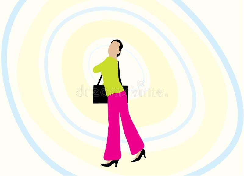 Ilustração da mulher e da bolsa ilustração do vetor