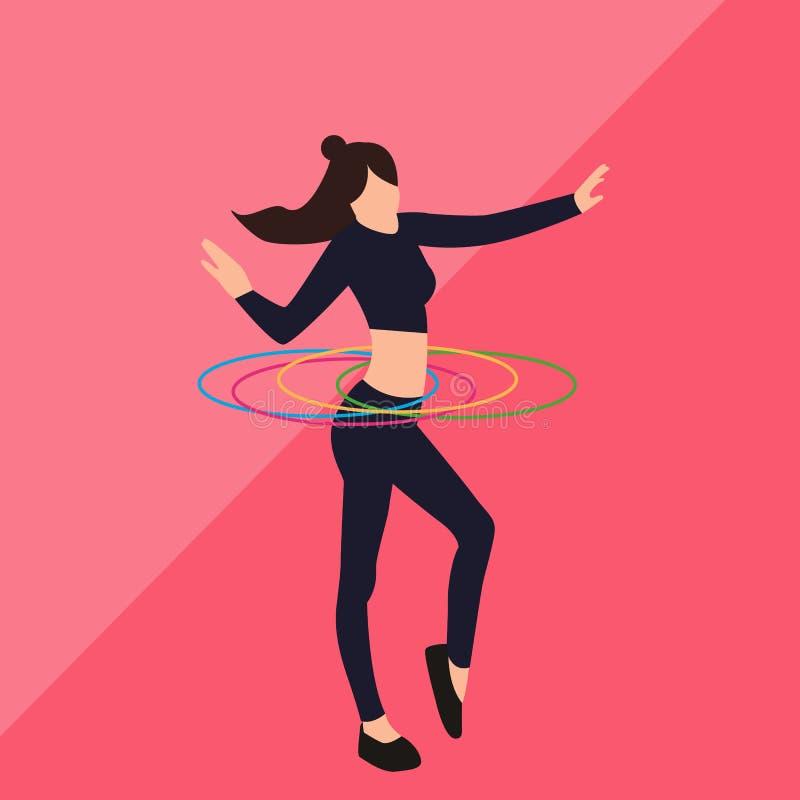 Ilustração da mulher da menina que joga atividades saudáveis da aptidão do hulahoop ilustração do vetor