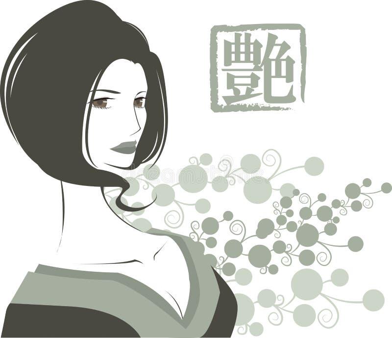 Ilustração da mulher tradicional 'sexy' do quimono fotografia de stock