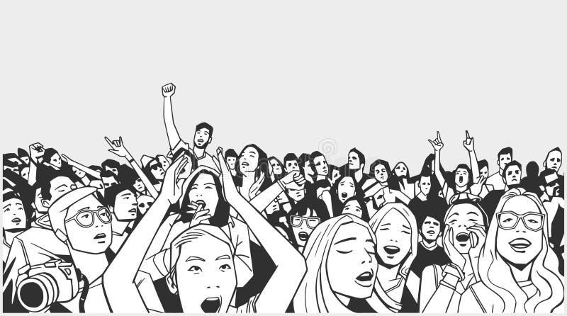 Ilustração da multidão do festival que cheering no concerto ilustração royalty free