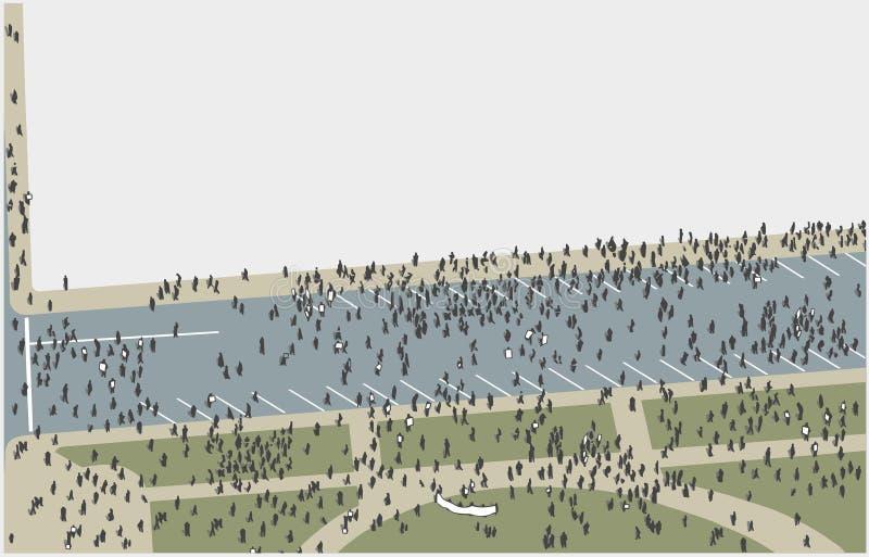 Ilustração da multidão que marcha e que protesta da opinião de ângulo alto na cor ilustração royalty free
