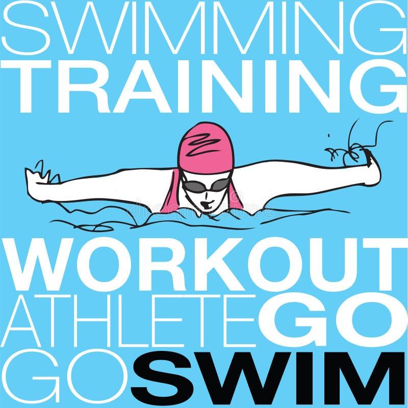 Ilustração da natação da menina no estilo do curso de borboleta ilustração stock