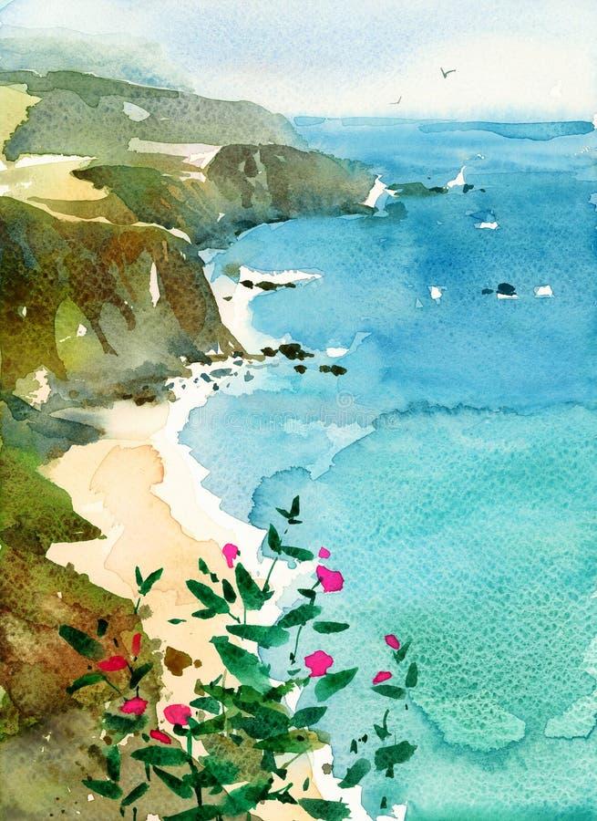 Ilustração da natureza da aquarela do Seascape da costa de Califórnia pintado à mão ilustração royalty free