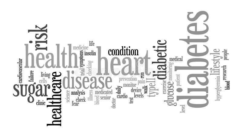 Ilustração da nuvem da etiqueta da palavra do diabetes ilustração royalty free