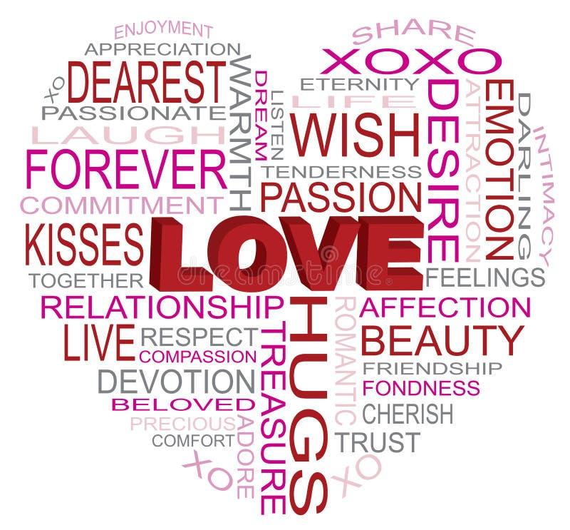 Ilustração da nuvem da palavra da forma do coração do amor ilustração stock
