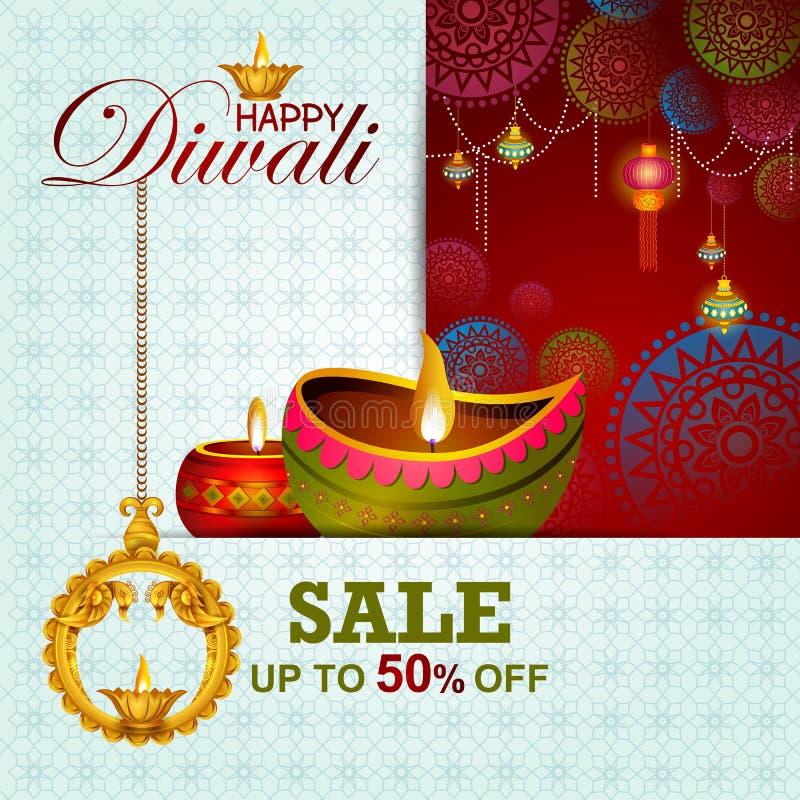 Ilustração da oferta feliz da venda da compra de Diwali ilustração stock