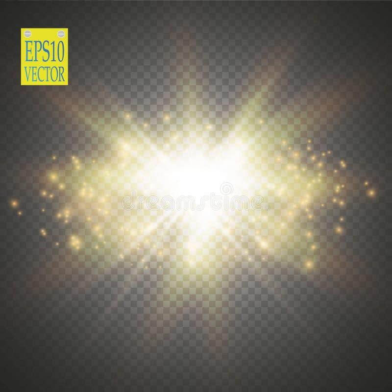 Ilustração da onda do brilho do ouro do vetor Partículas efervescentes da fuga da poeira de estrela do ouro isoladas no fundo tra ilustração stock